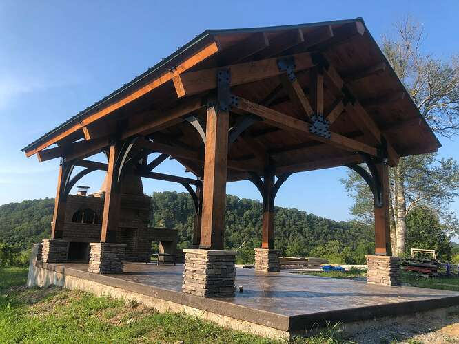 Outdoor Fireplace With Pergola (3)