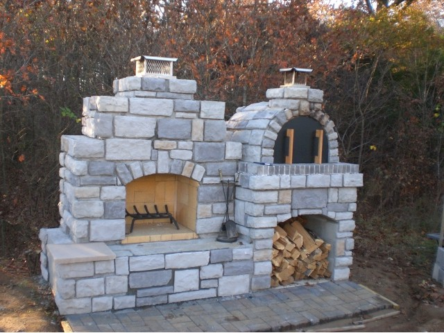 The Grunick Family Outdoor Brick Pizza Oven Outdoor Fireplace In